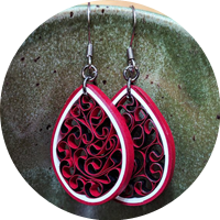 Red Honeycomb Paper Earrings