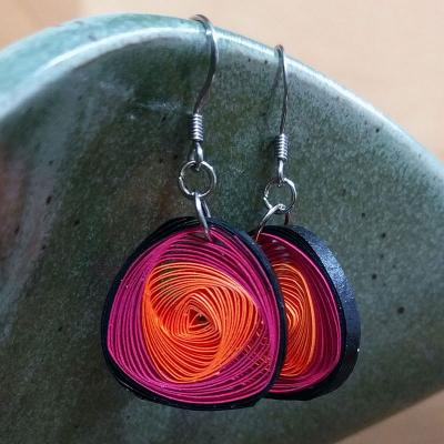 Pink & Orange Vortex Earrings